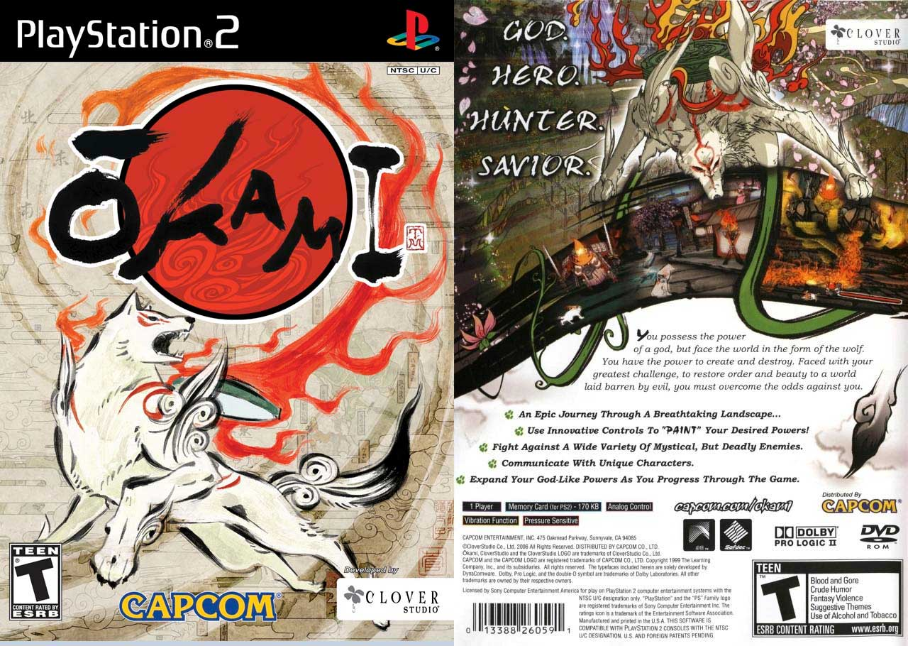 Okami game cover art back and front of case